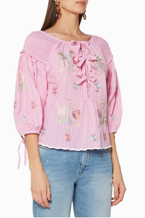 Pink Oliver Daily Gingham Top