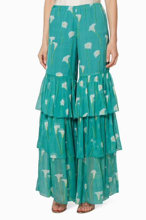 Teal Tiered Ruffle Pants