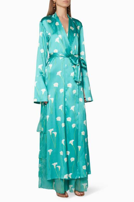 Teal Printed Jade Long Robe