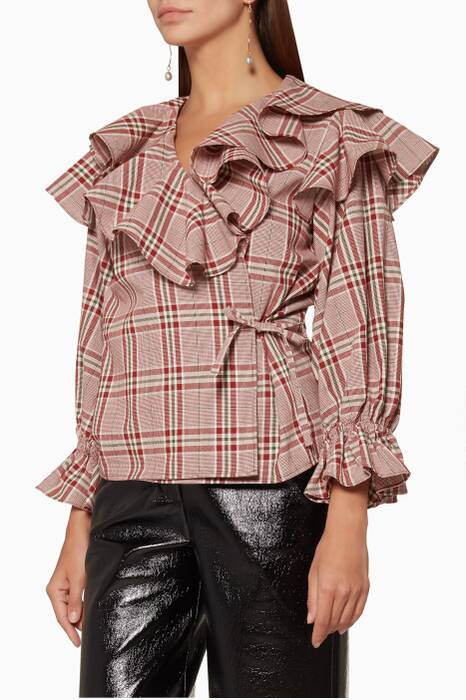 Red Camila Checked Blouse