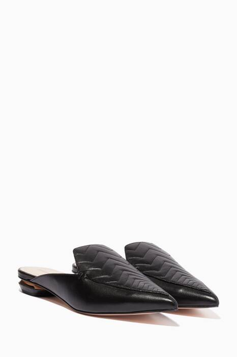 Black Quilted-Chevron Beya Backless Loafers