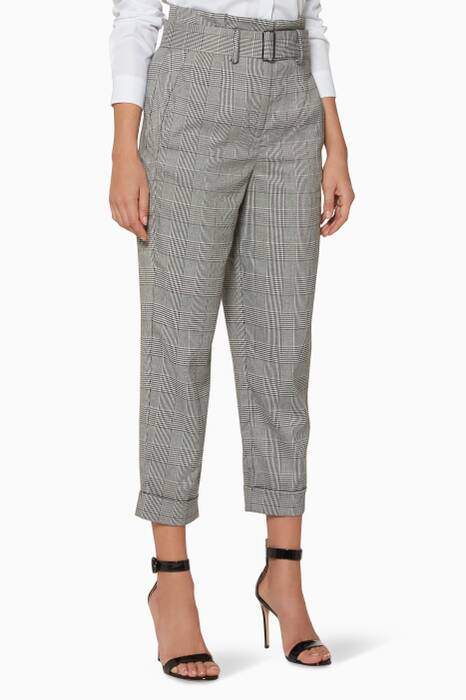 Pastel-Grey Check Suiting Pants