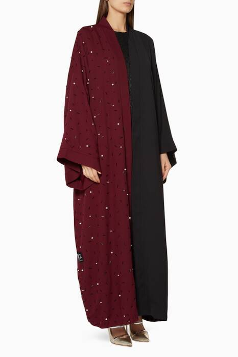 Burgundy & Black Embellished Abaya