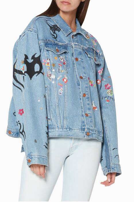 Light-Blue Tribal Sticker Oversized Denim Jacket
