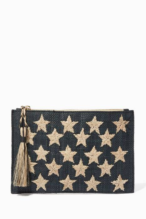 Black Raffia Embroidered Clutch