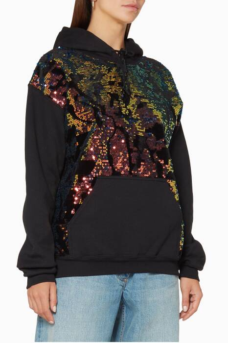 Black Sequined Camo-Panel Hoodie
