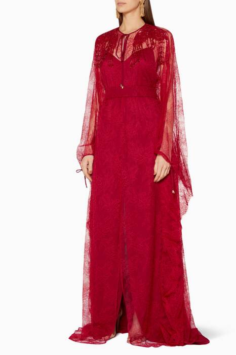 Red Rose-Lace Kaftan Gown
