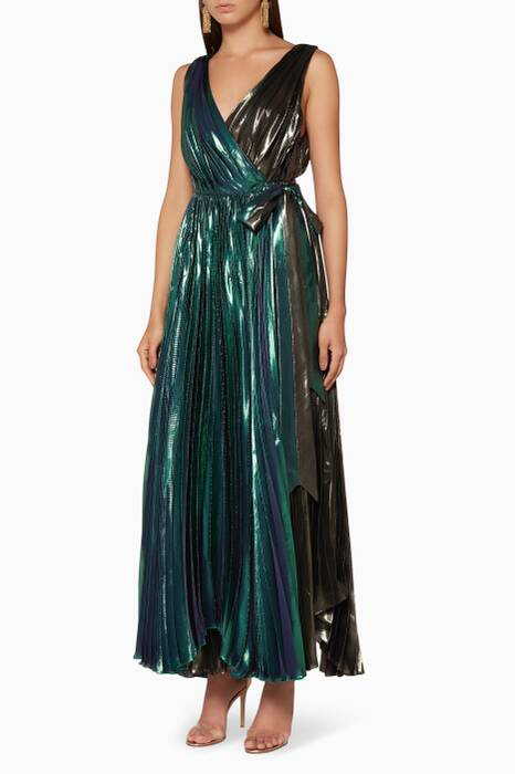 Multi-Coloured Metallic Diya Midi Dress