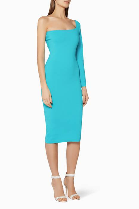 Cyan-Blue One-Shoulder Fiorella Midi Dress