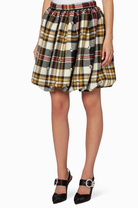 Multi-Coloured Embellished Plaid Mini Skirt