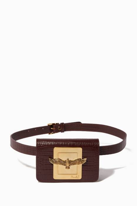 Burgundy Joelle Crocodile-Embossed Belt Bag