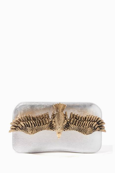 Silver Soaring Eagle Verona Leather Clutch