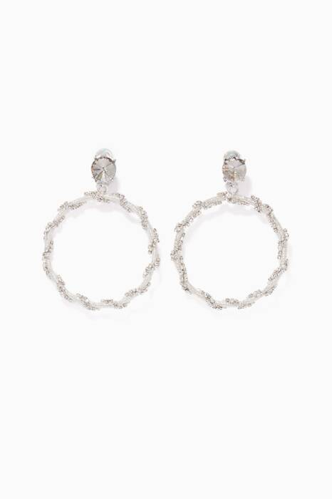 Silver Crystal Chain Hoop Earrings