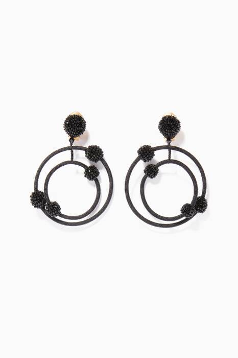 Black Beaded Orbit Earrings