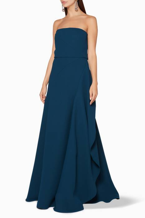 Petrol-Blue Strapless Gown