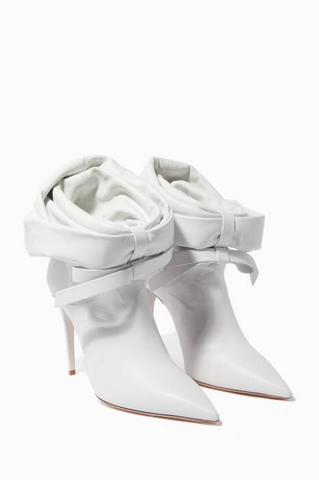 White Tie-Front Ankle Boots