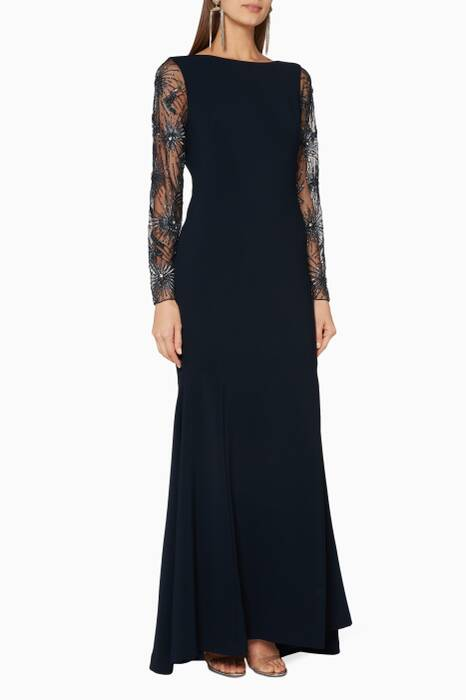 Navy Embellished-Sleeve Gown