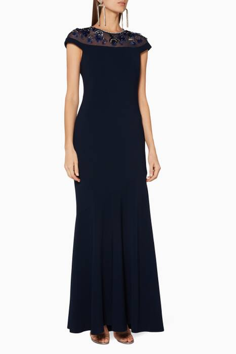 Midnight-Blue Embellished Gown