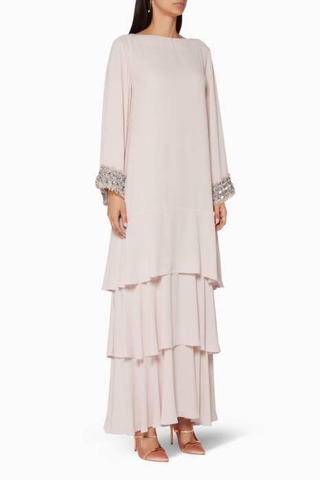 Light-Pink Three Tiered Tweed Embroidered Kaftan