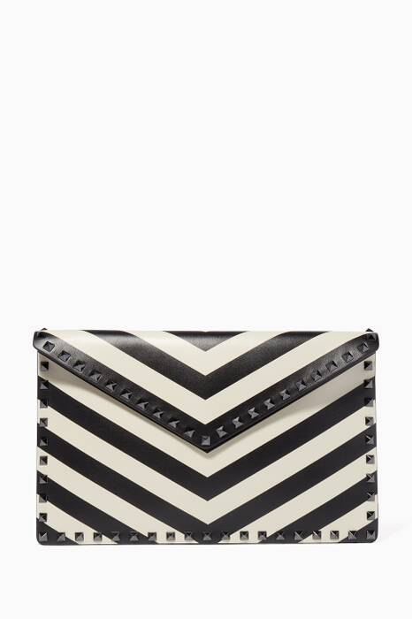 Black & Ivory Stripe Large Animation Clutch