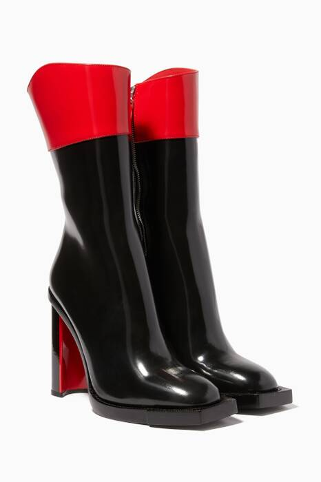 Black & Lust Red Hybrid Boots