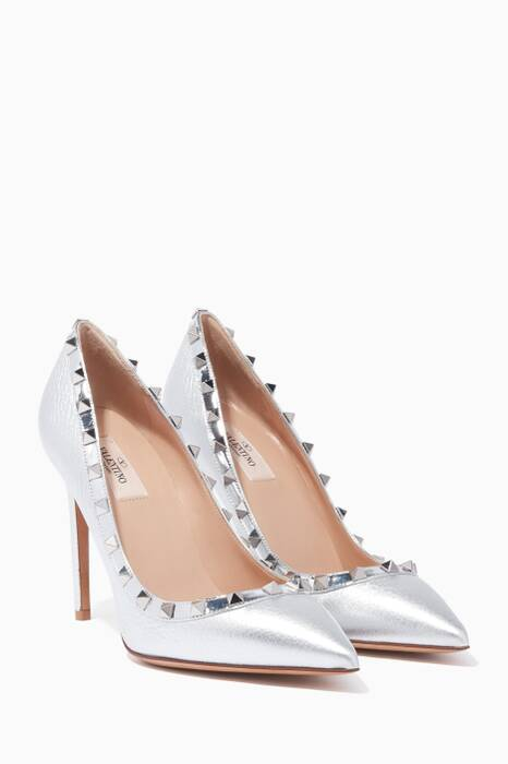 Silver Rockstud Point-Toe Pumps