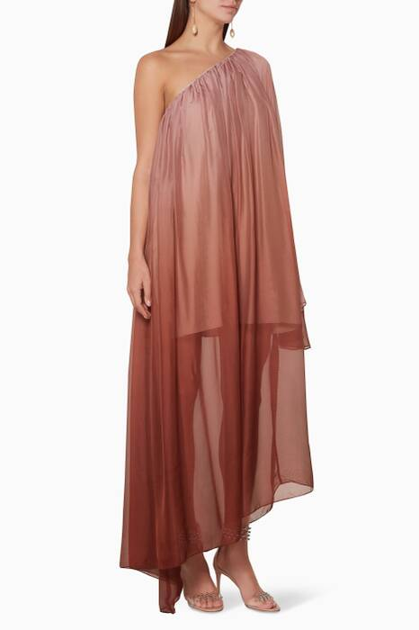 Bronze-Ombre One-Shoulder Ancel Gown