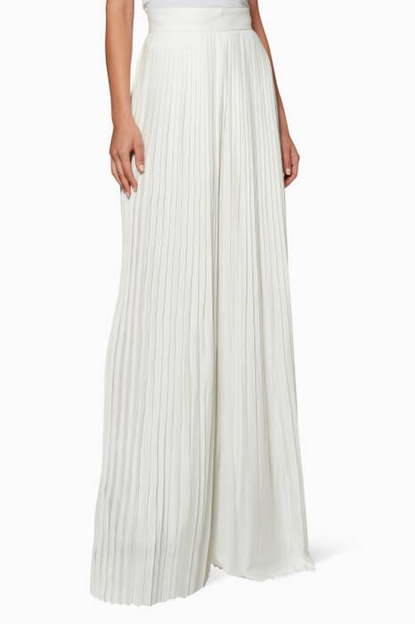 White Pleated Wide-Leg Pants