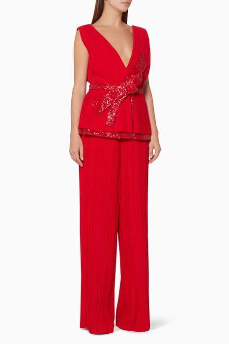 Red Sequin Bow Top & Pleated Pants Set