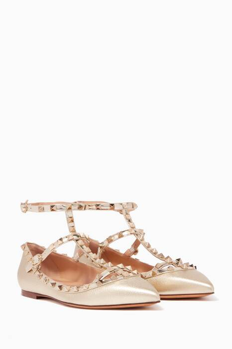 Gold Metallic Double-Strap Rockstud Textured Ballerinas