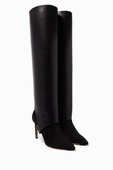 Black Hurley Suede & Leather Knee-High Boots
