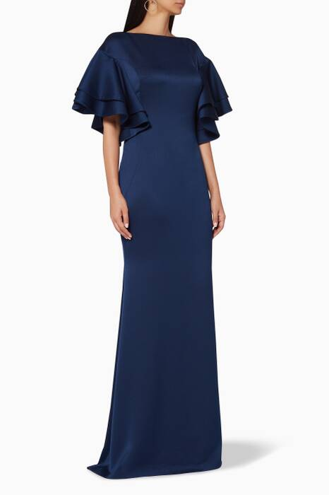 Navy Moroccan Layered-Sleeve Gown
