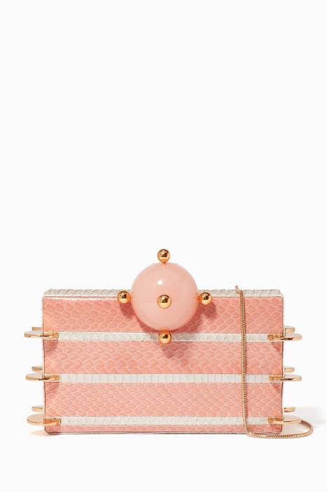 Light-Pink Abey Snakeskin Chain Clutch
