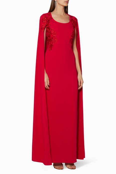 Red Sequined & Embroidered Cape Gown