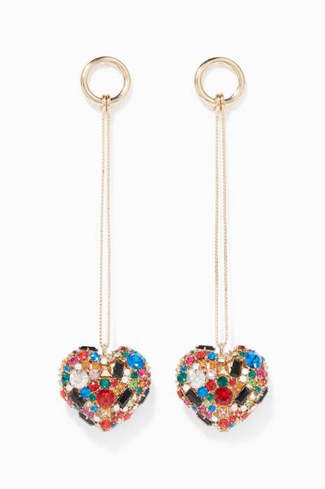 Gold Heart Crystal Embellished Earrings