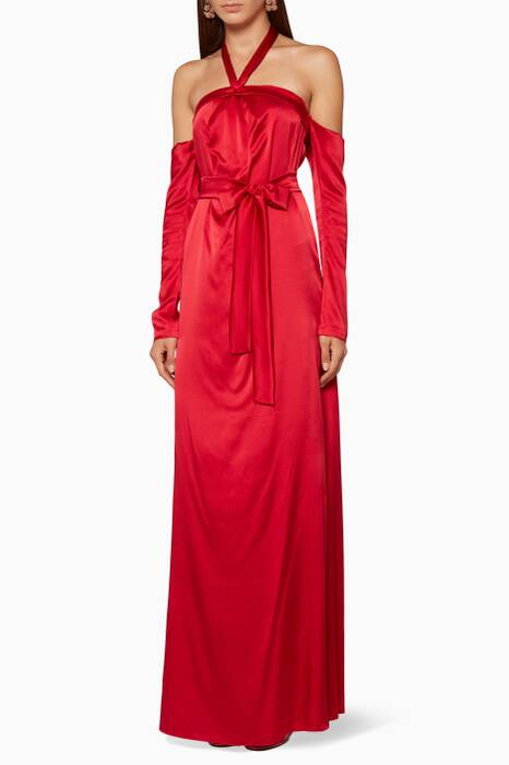 Red Silk Off-The-Shoulder Gown