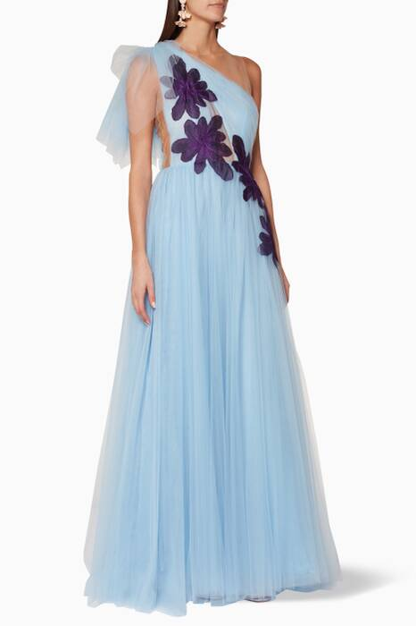 Blue One-Shoulder Tulle Gown