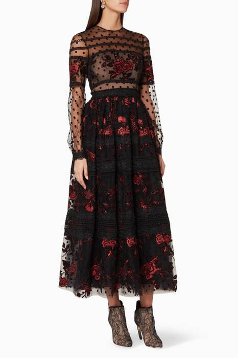 Black Floral-Embroidered Midi Dress