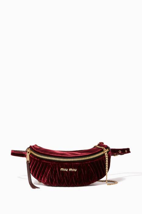 Burgundy Matelassé Velvet Belt Bag