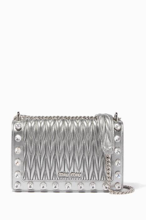 Silver Small Matelassé Crystal Shoulder Bag