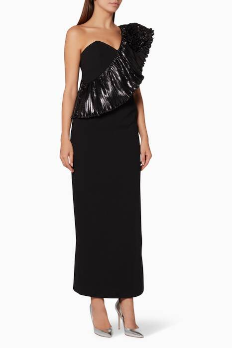 Black One-Shoulder Gown