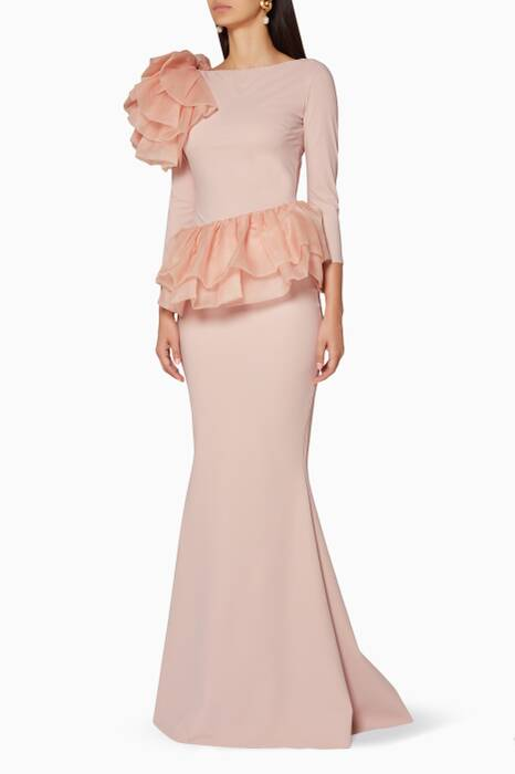 Nude Organza-Ruffle Glanys Gown