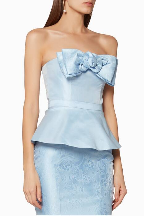 Light-Blue Strapless Sylvia Peplum Top