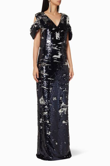 Navy & Silver Sequined Dhyana Gown