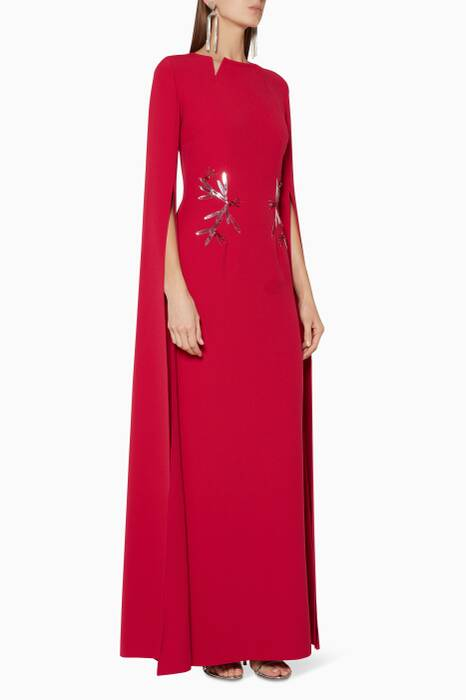 Crimson-Red Embellished Talin Gown