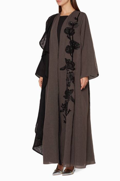 Black & Grey Floral-Embellished Abaya