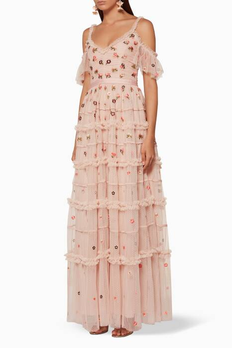 Rose-Quartz Cleste Embellished Gown