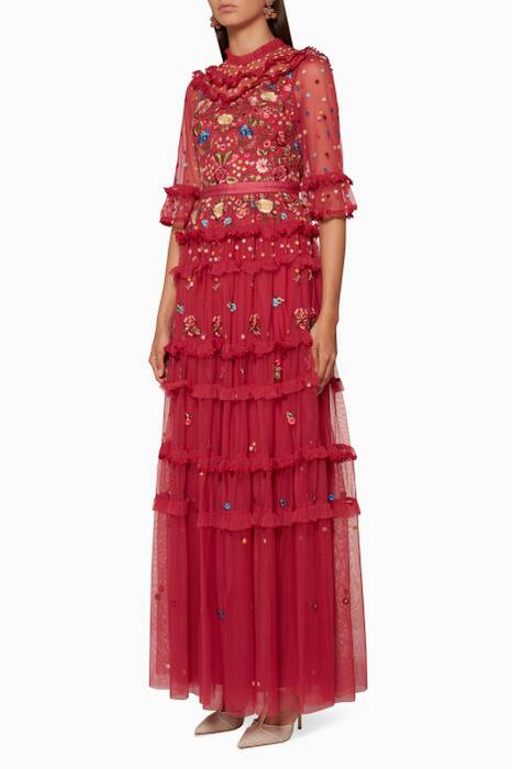 Heather-Red Pandora Embellished Gown