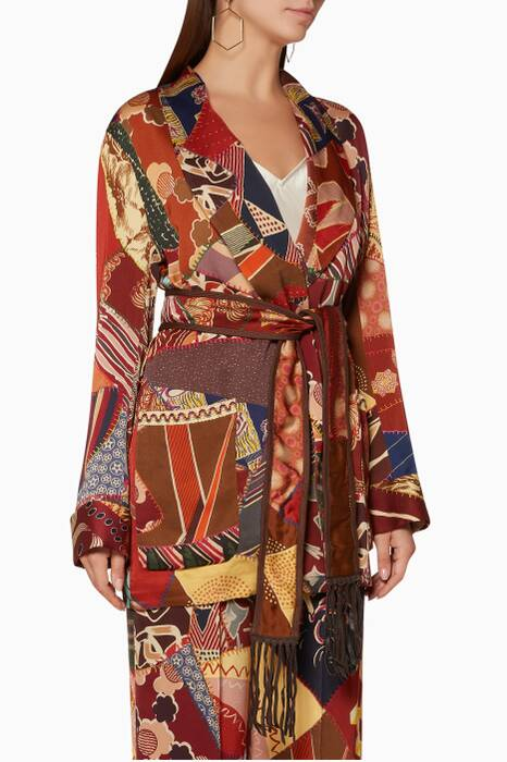 Multi-colour Graphic-Print Fringed Jacket
