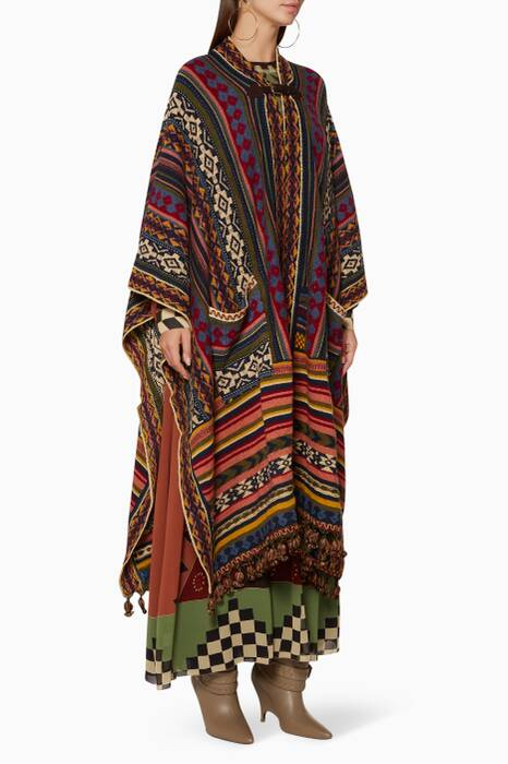 Multi-Coloured Embroidered Poncho-Style Coat